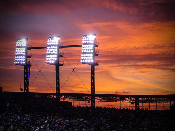 Ballpark At Sunset Poster
