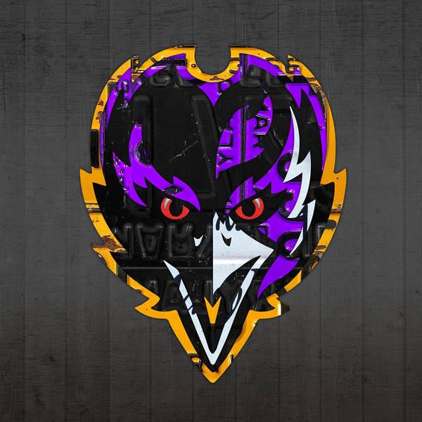 Baltimore Ravens Football Team Retro Logo Maryland License Plate Art Poster