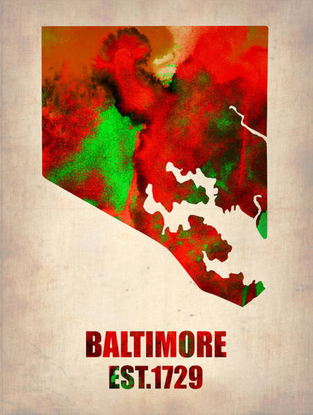 Baltimore Watercolor Map Poster