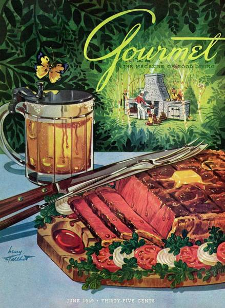 Barbeque Meat And A Mug Of Beer Poster