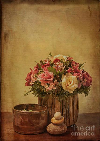Basket Of Spring Roses Poster