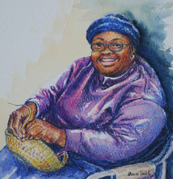 Basket Weaver In Blue Hat Poster
