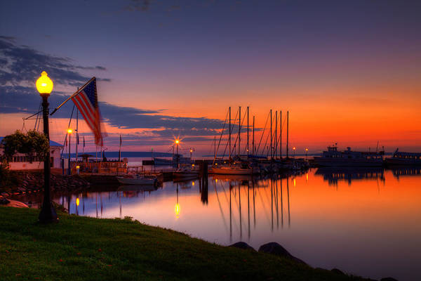 Bayfield Wisconsin Fire In The Sky Over The Harbor Poster