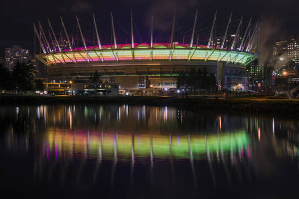 Poster featuring the photograph Bc Place Greens And Yellows by Ross G Strachan