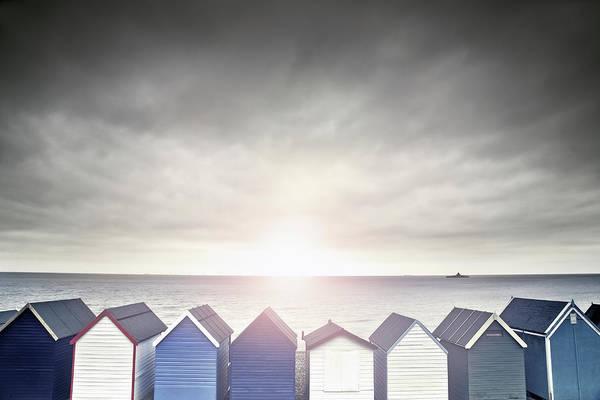 Beach Hut Sunset Poster
