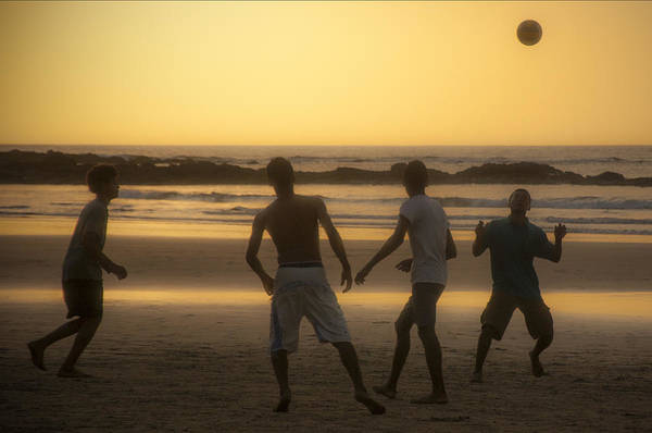 Beach Soccer At Sunset Poster