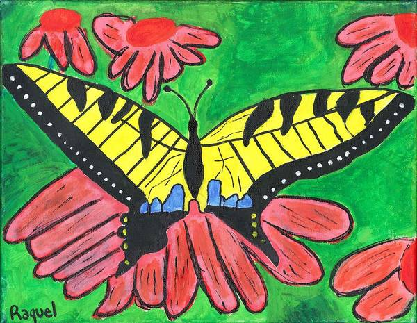 Poster featuring the painting Tiger Swallowtail Butterfly by Raqul Chaupiz