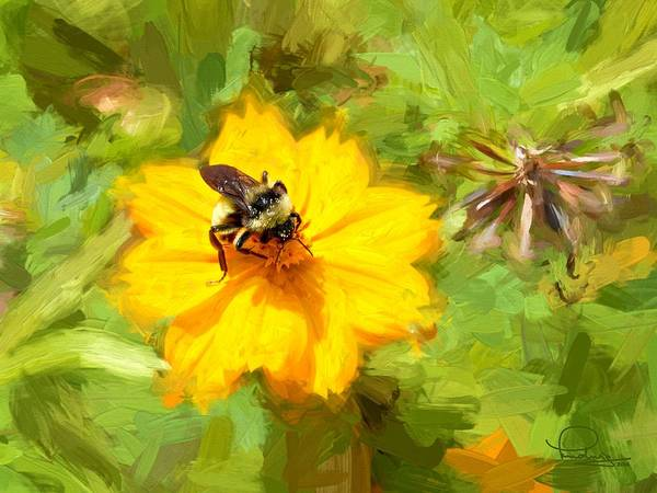 Bee On Flower Painting Poster
