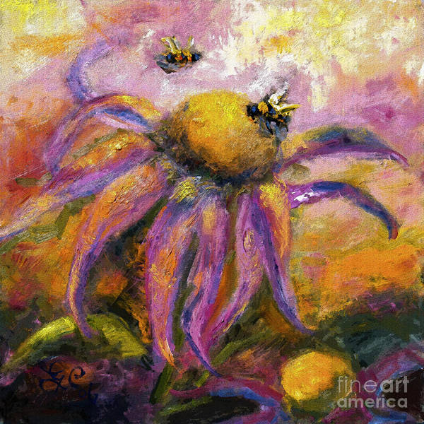 Bees On Purple Coneflower Blossoms Poster