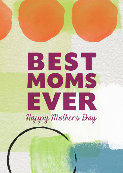 Best Moms Card- Two Moms Greeting Card Poster