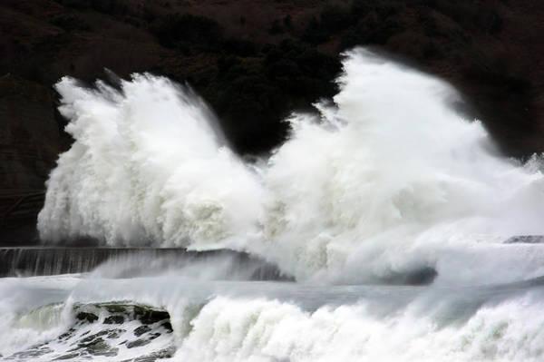 Big Waves Breaking On Breakwater Poster