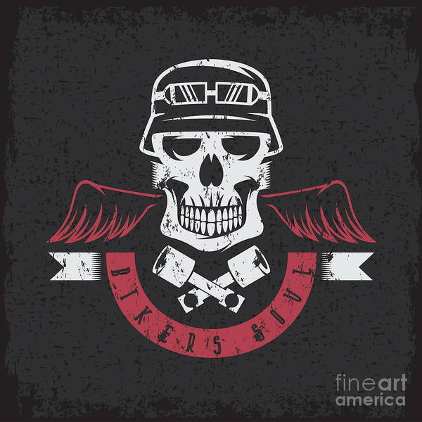 Biker Theme Grunge Label With Pistons Poster