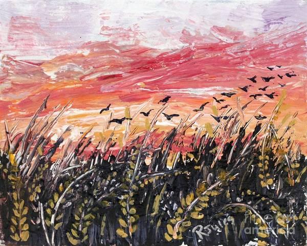 Birds In Wheatfield Poster