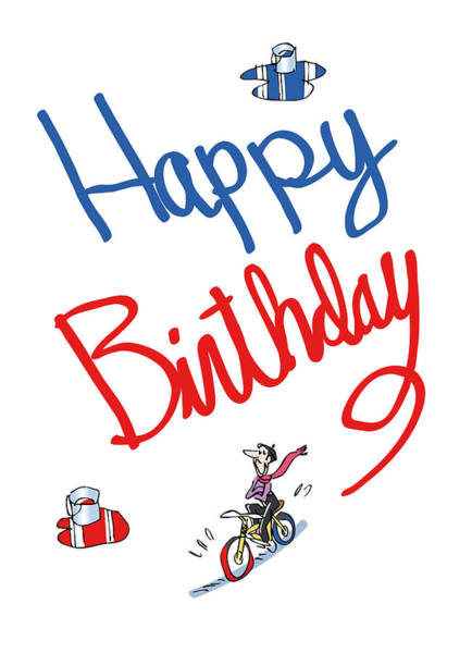 Birthday Bicycle Painter Poster