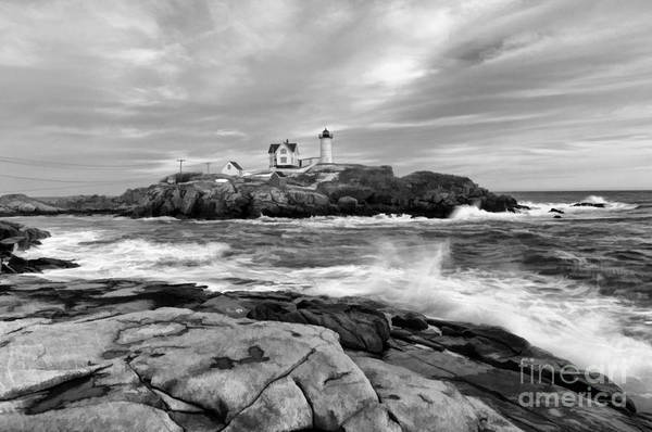 Black And White Painted Seascape Poster
