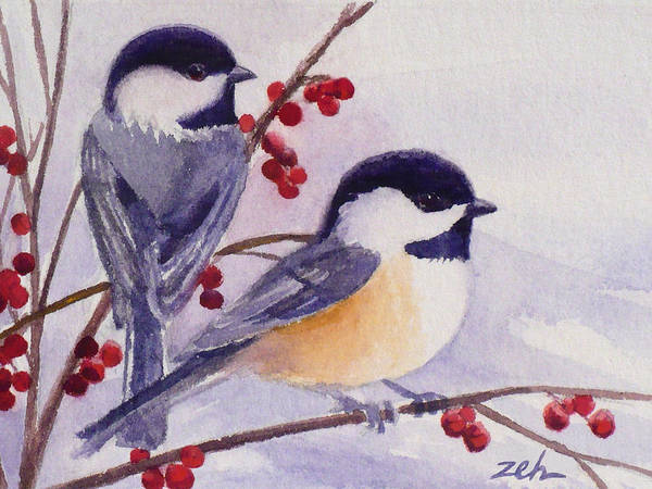 Black-capped Chickadees Poster