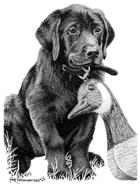 Poster featuring the drawing Black Lab Puppy by Rob Christensen
