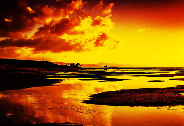 Black Yellow And Orange Sunrise Abstract Poster