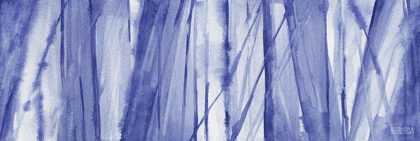 Blue And White Abstract Panoramic Painting Poster