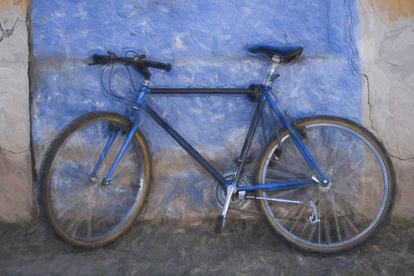Blue Bike Blue Wall Painterly Effect Poster