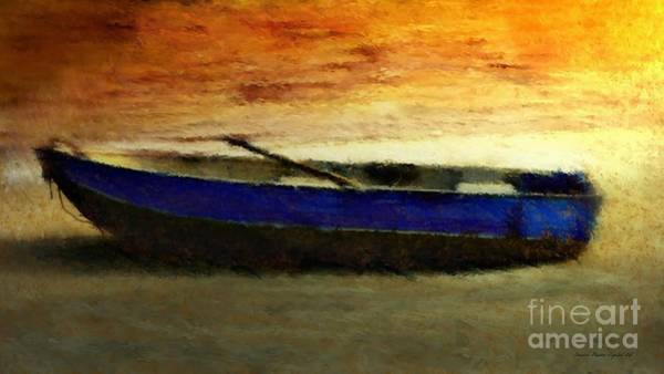 Poster featuring the painting Blue Boat At Sunset by Sandra Bauser Digital Art