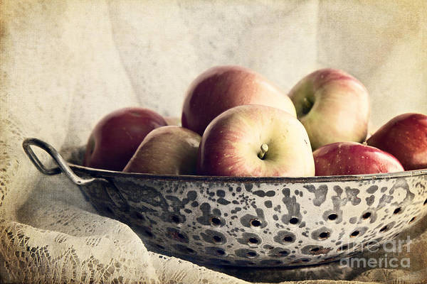 Blue Bowl Of Apples Poster