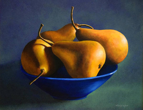 Blue Bowl With Four Pears Poster