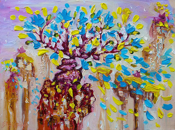 Blue Flower Painting Tree Art Oil On Canvas By Ekaterina Chernova Poster