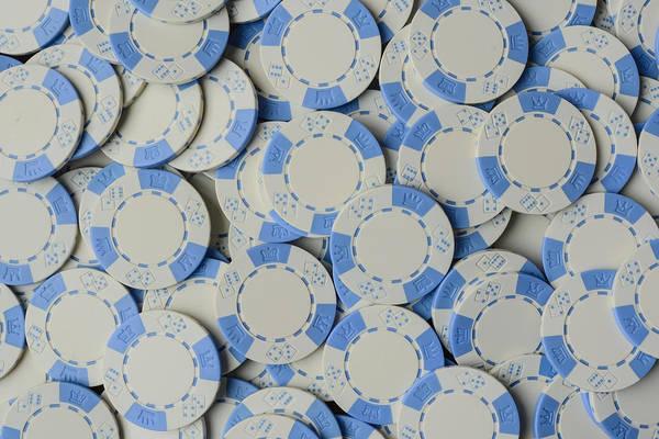 Blue Poker Chip Background Poster