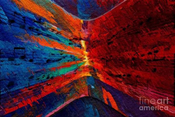 Poster featuring the digital art Blue Red Intermezzo by Lon Chaffin