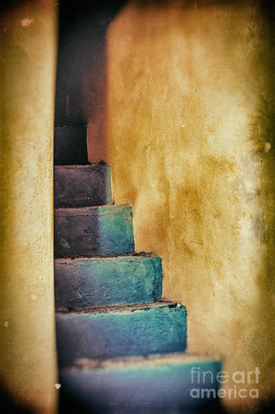 Blue Stairs - Yellow Wall    Poster