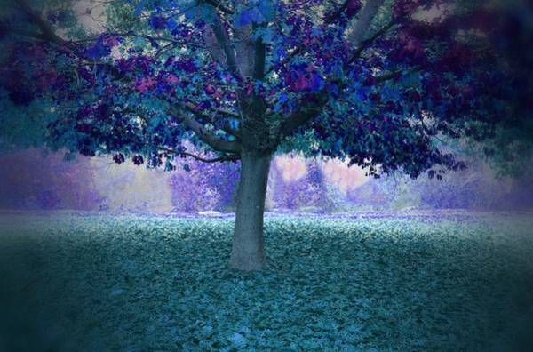 Blue Tree Monet Painting Background Poster