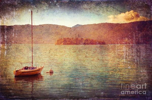 Boat On Lake Maggiore Poster