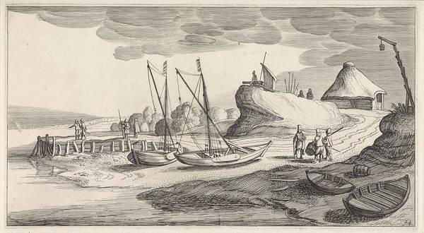 Boats On A River Bank, Jan Van De Velde II Poster