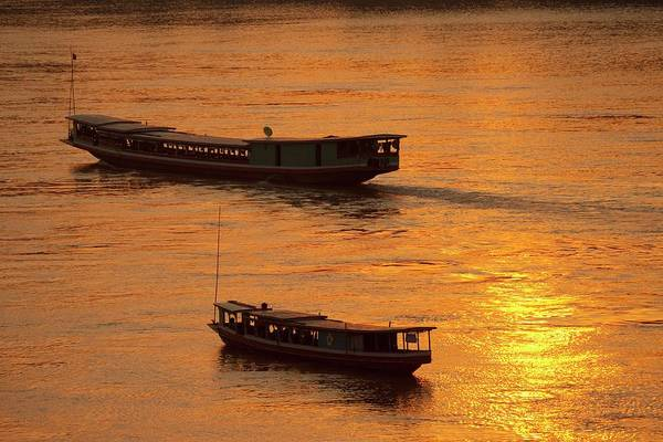 Boats On The Mekong River Poster