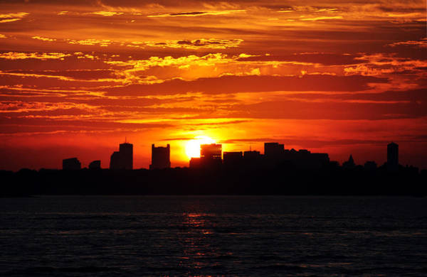 Boston Skyline Sunset Poster