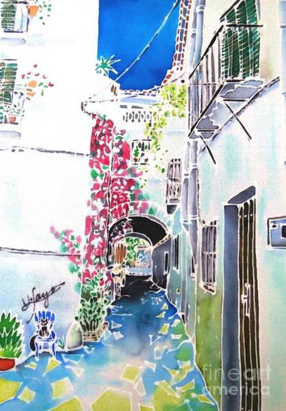 Poster featuring the painting Bougainvillea Path  by Hisayo Ohta
