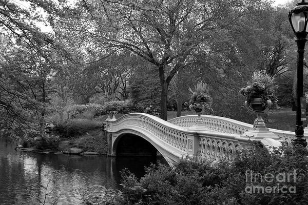 Bow Bridge Nyc In Black And White Poster