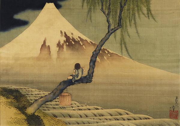 Boy Viewing Mount Fuji Poster