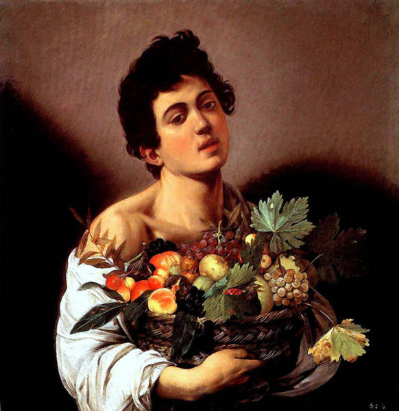 Boy With A Basket Of Fruits Poster