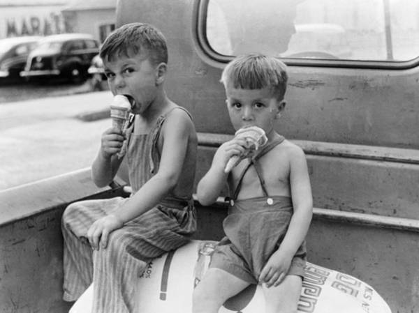 Boys Eating Ice Cream Cones Poster