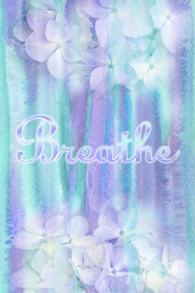 Breathe Refreshing Hydrangea Turquoise Purple Watercolor Poster