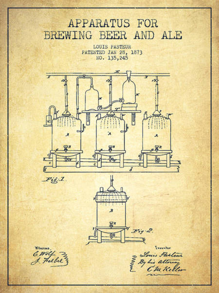 Brewing Beer And Ale Apparatus Patent Drawing From 1873 - Vintag Poster