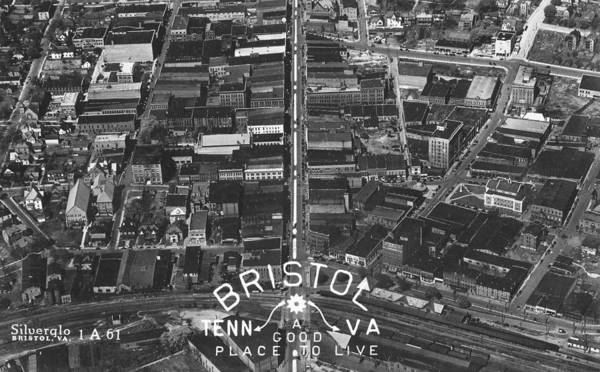 Bristol Virginia Tennessee Early Aerial Photo Poster