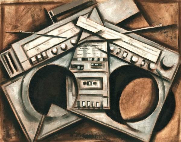 Broken Beats Vintage Stereo Boombox Art Print Poster