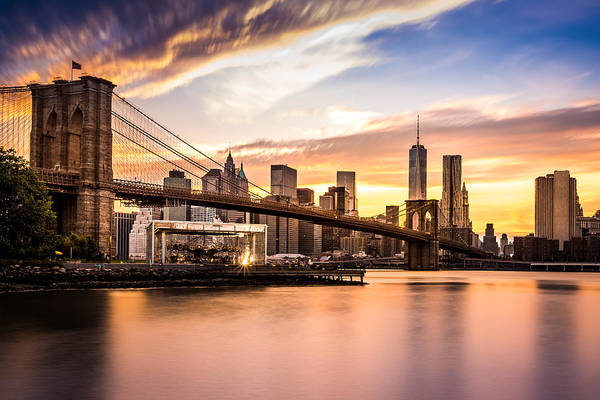 Poster featuring the photograph Brooklyn Bridge At Sunset  by Mihai Andritoiu