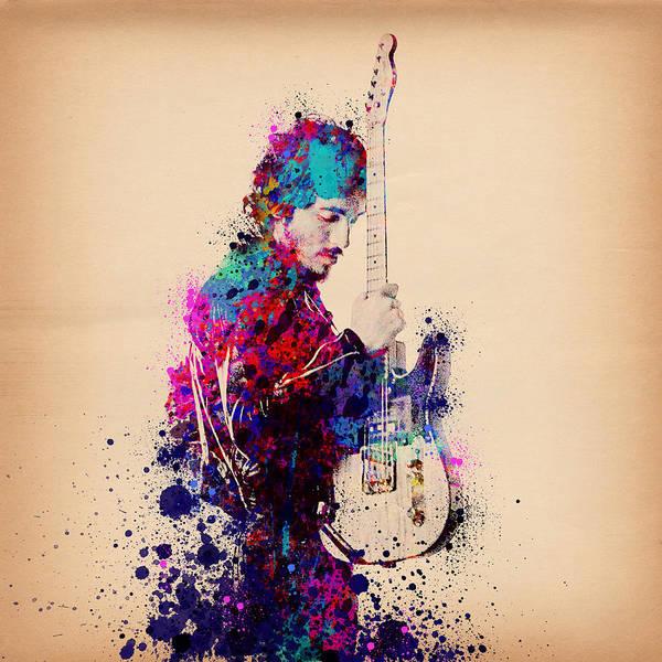 Bruce Springsteen Splats And Guitar Poster
