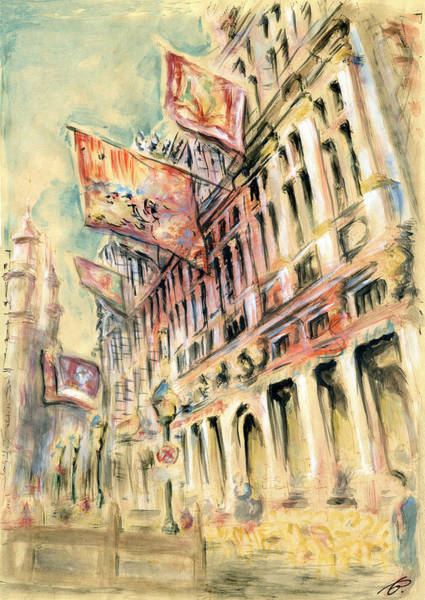 Brussels Grand Place - Watercolor Poster