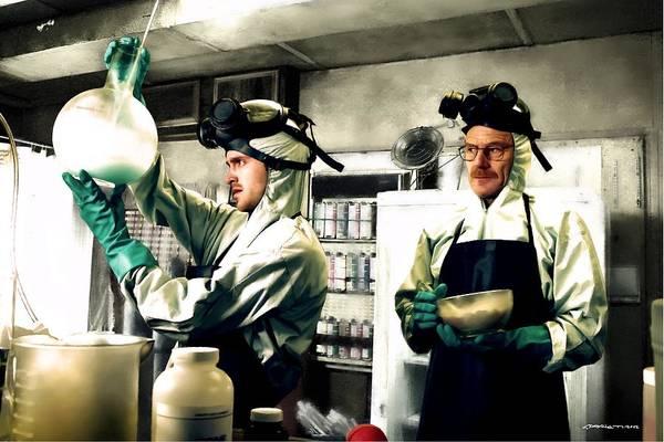 Bryan Cranston As Walter White And Aaron Paul As Jesse Pinkman Cooking Metha @ Tv Serie Breaking Bad Poster