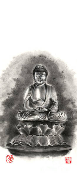 Buddha Buddhist Sumi-e Tibetan Calligraphy Original Ink Painting Artwork Poster